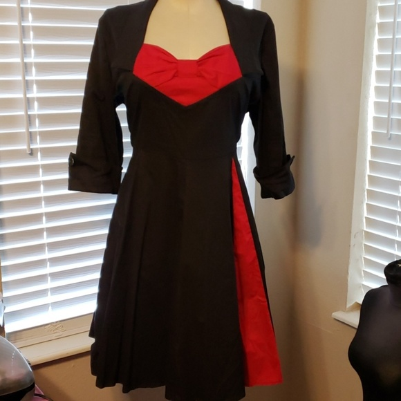 Plus Size Black & Red Rockabilly Pinup Full Dress